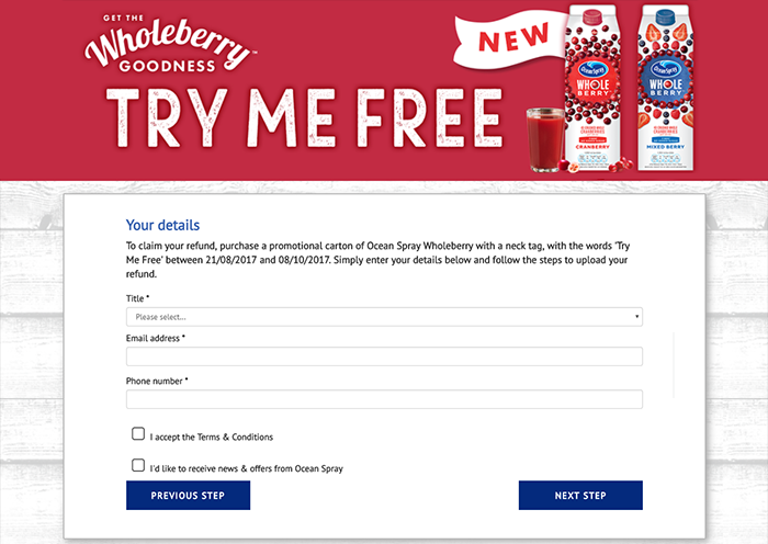 MRM Ocean Spray Try Me Free Promotion